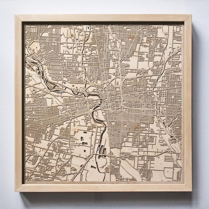 Columbus CityWood Laser Cut Wooden Map