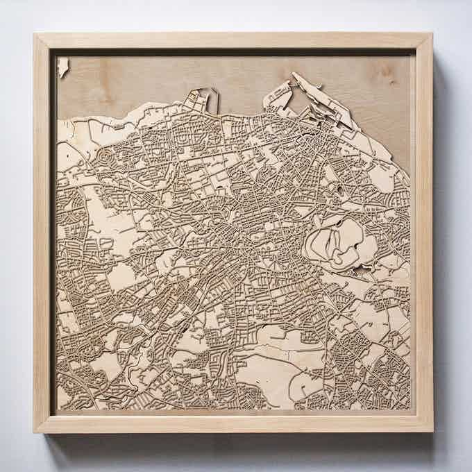 Edinburgh CityWood Laser Cut Wooden Map