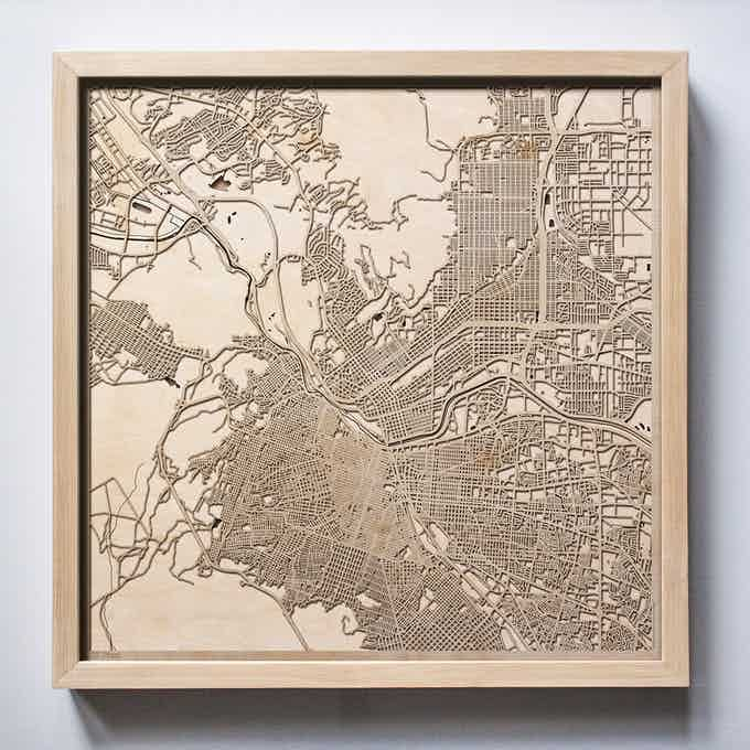 El Paso CityWood Laser Cut Wooden Map