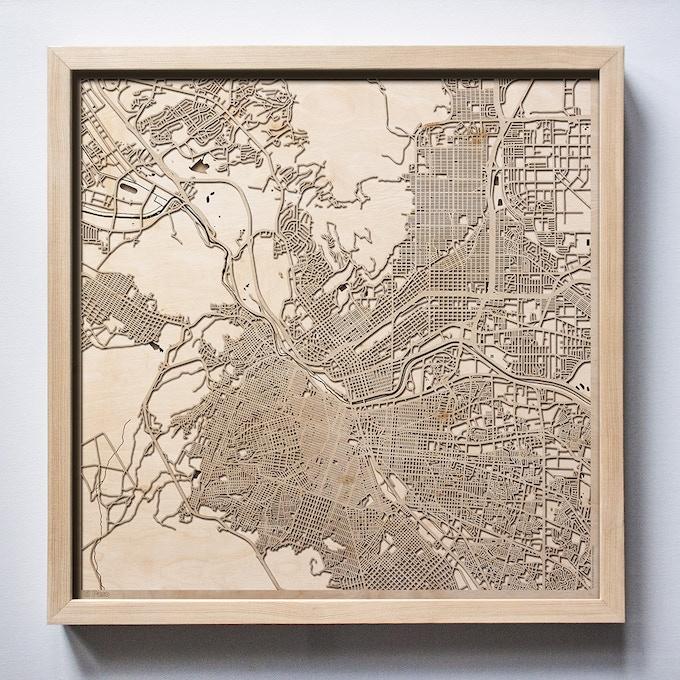 El Paso CityWood Laser Cut Wooden Map