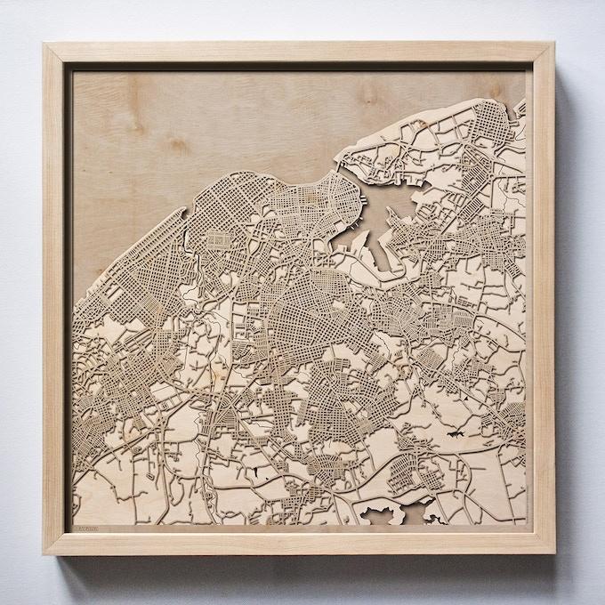 Havana CityWood Laser Cut Wooden Map