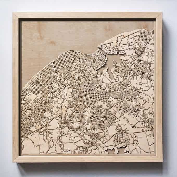 Havana CityWood Laser Cut Wooden Map
