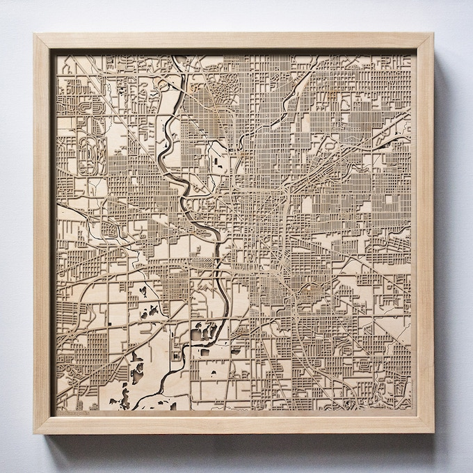 Indianapolis CityWood Laser Cut Wooden Map