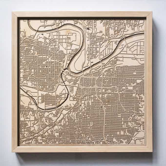 Kansas City CityWood Laser Cut Wooden Map