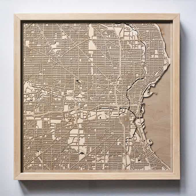 Milwaukee CityWood Laser Cut Wooden Map