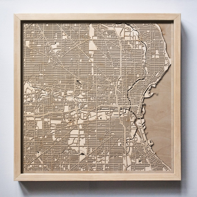 Milwaukee CityWood Laser Cut Wooden Map