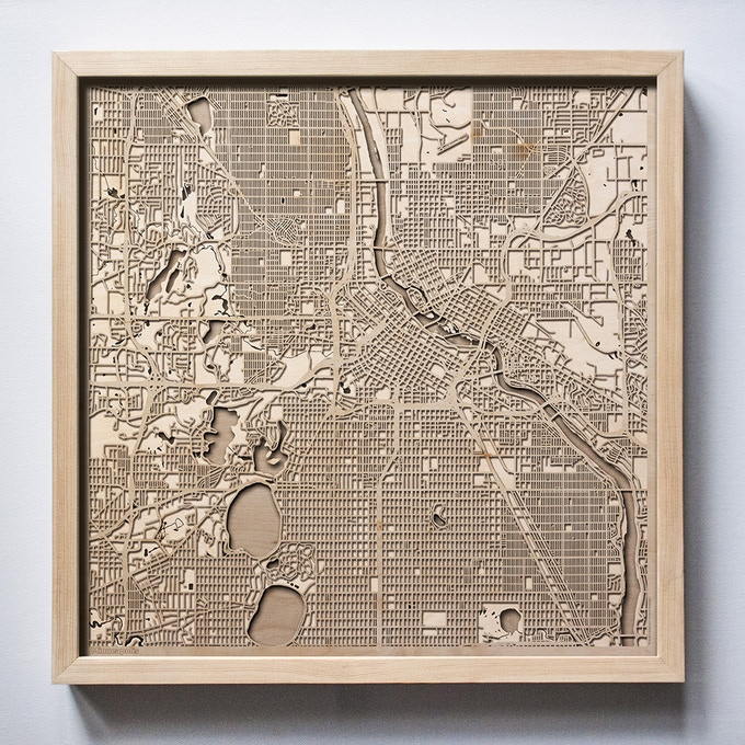 Minneapolis CityWood Laser Cut Wooden Map