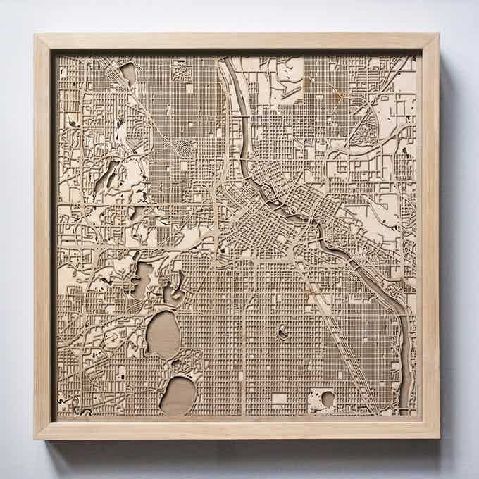 Minneapolis CityWood Laser Cut Wooden Map