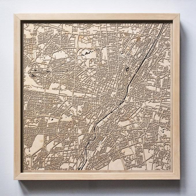 Munich CityWood Laser Cut Wooden Map