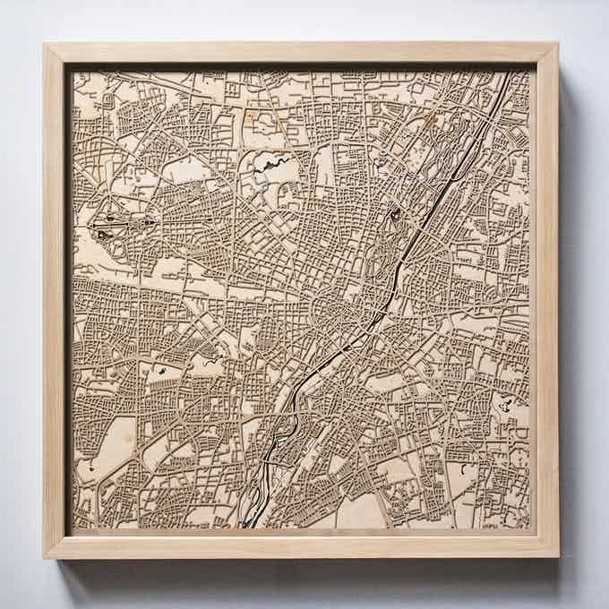 Munich CityWood Laser Cut Wooden Map