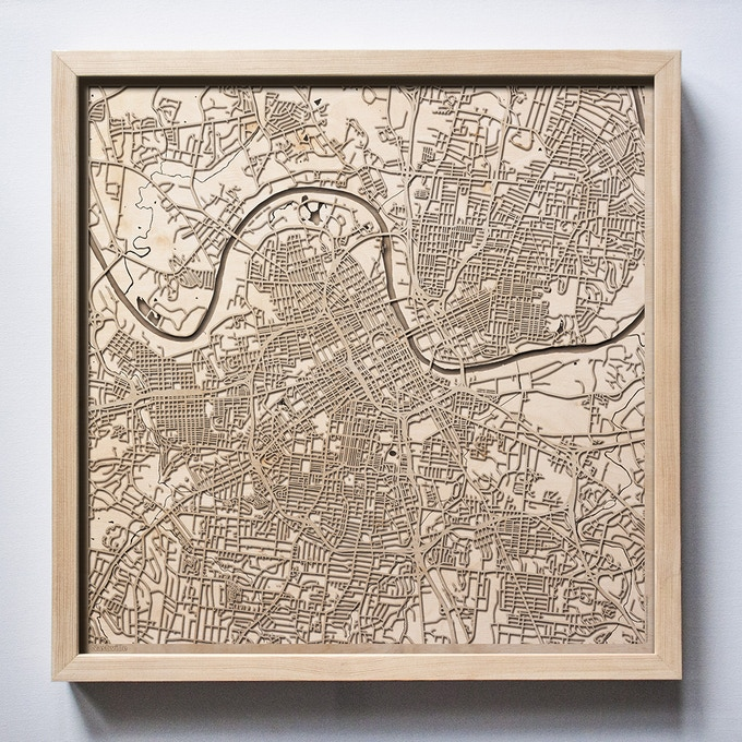 Nashville CityWood Laser Cut Wooden Map