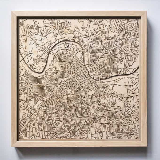 Nashville CityWood Laser Cut Wooden Map