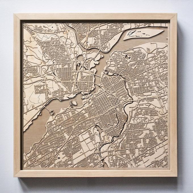 Ottawa CityWood Laser Cut Wooden Map