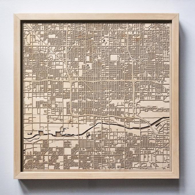 Phoenix CityWood Laser Cut Wooden Map