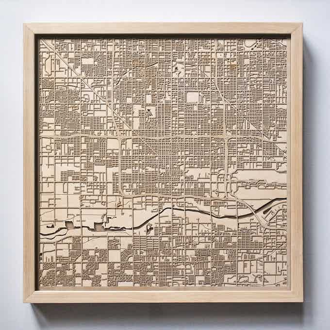 Phoenix CityWood Laser Cut Wooden Map