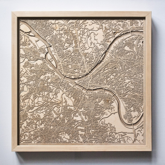Pittsburgh CityWood Laser Cut Wooden Map