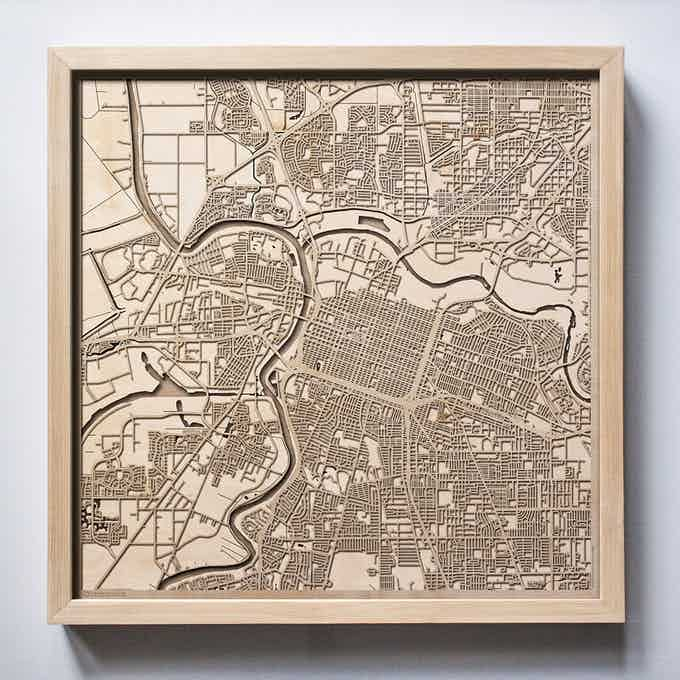 Sacramento CityWood Laser Cut Wooden Map