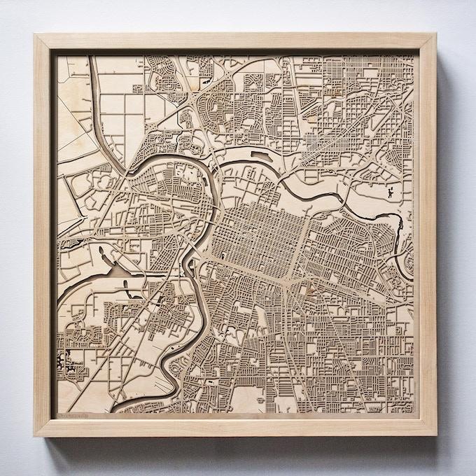Sacramento CityWood Laser Cut Wooden Map