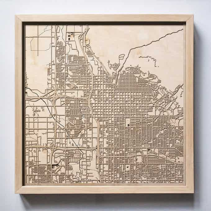 Salt Lake City CityWood Laser Cut Wooden Map