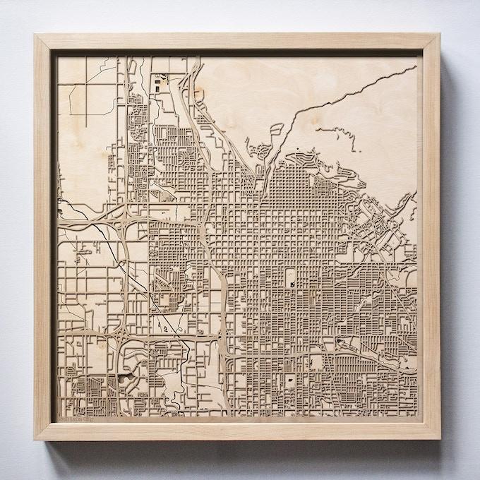 Salt Lake City CityWood Laser Cut Wooden Map