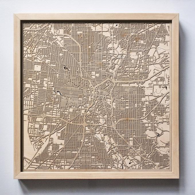 San Antonio CityWood Laser Cut Wooden Map