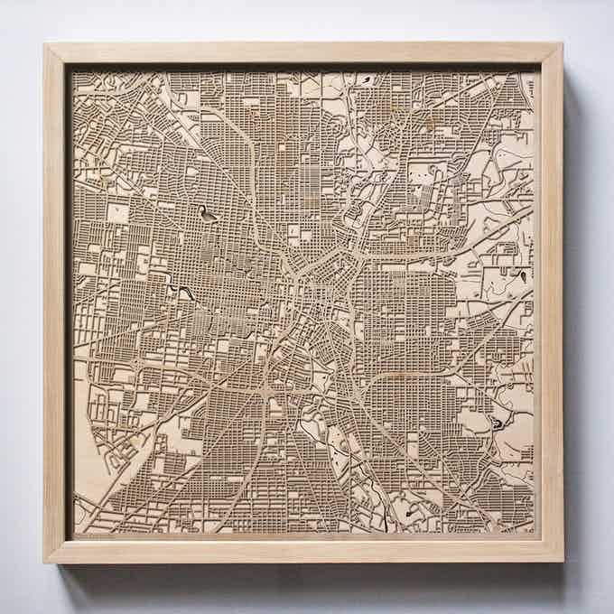 San Antonio CityWood Laser Cut Wooden Map