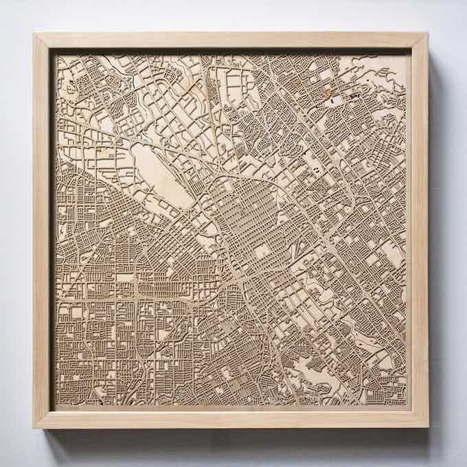 San Jose CityWood Laser Cut Wooden Map