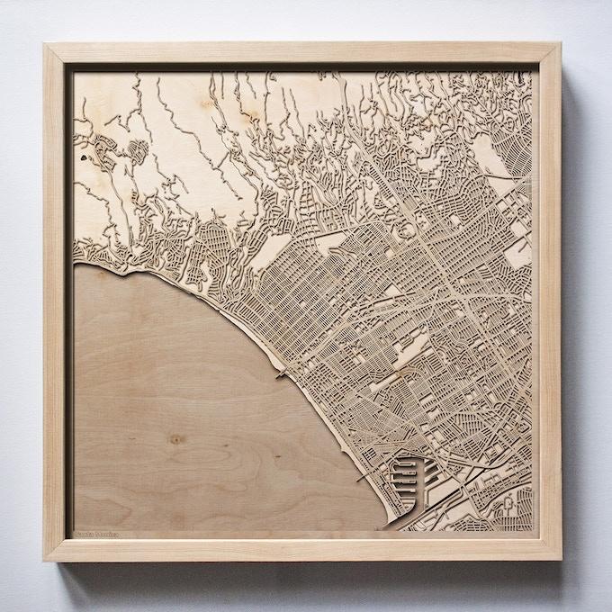 Santa Monica CityWood Laser Cut Wooden Map