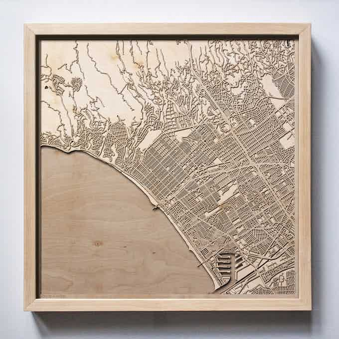 Santa Monica CityWood Laser Cut Wooden Map
