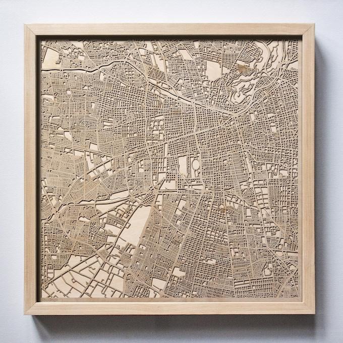 Santiago CityWood Laser Cut Wooden Map