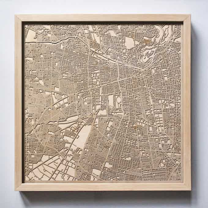 Santiago CityWood Laser Cut Wooden Map