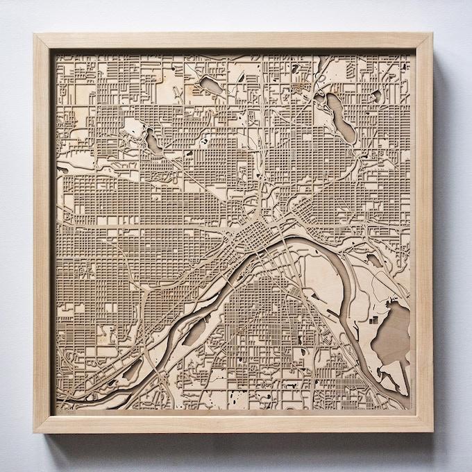 St Paul CityWood Laser Cut Wooden Map
