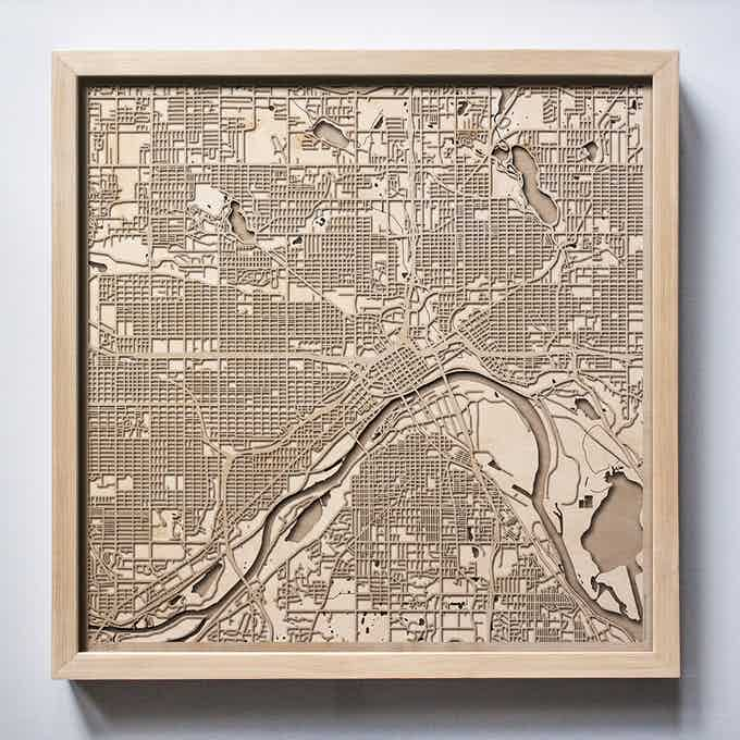 St Paul CityWood Laser Cut Wooden Map