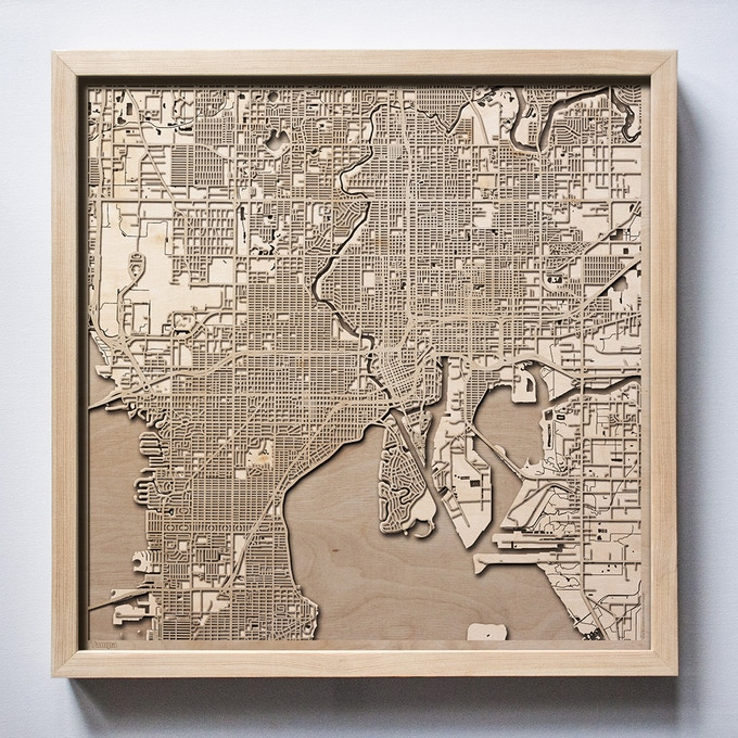 Tampa CityWood Laser Cut Wooden Map