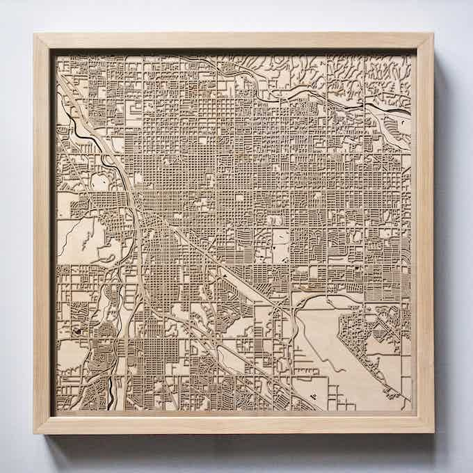 Tucson CityWood Laser Cut Wooden Map