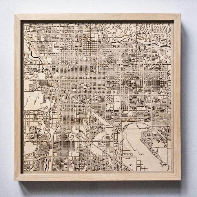 Tucson CityWood Laser Cut Wooden Map