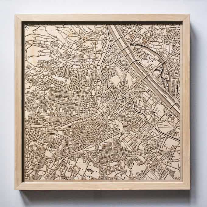 Vienna CityWood Laser Cut Wooden Map