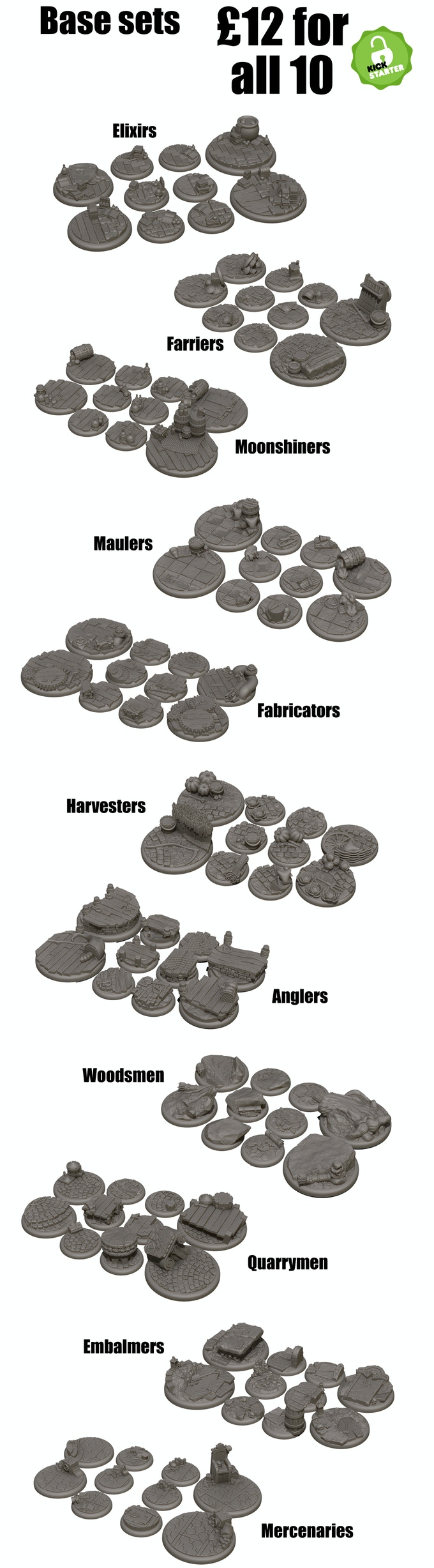 Enough Themed bases for 10 players in various sizes