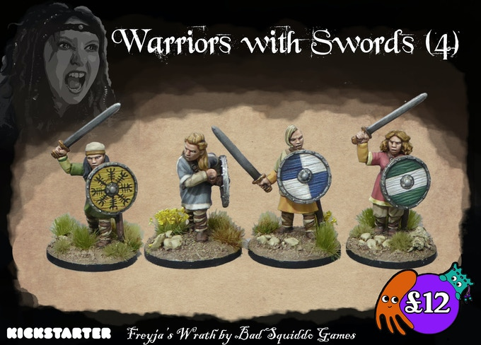 Four single piece pewter miniatures (with shields that attach seperately).