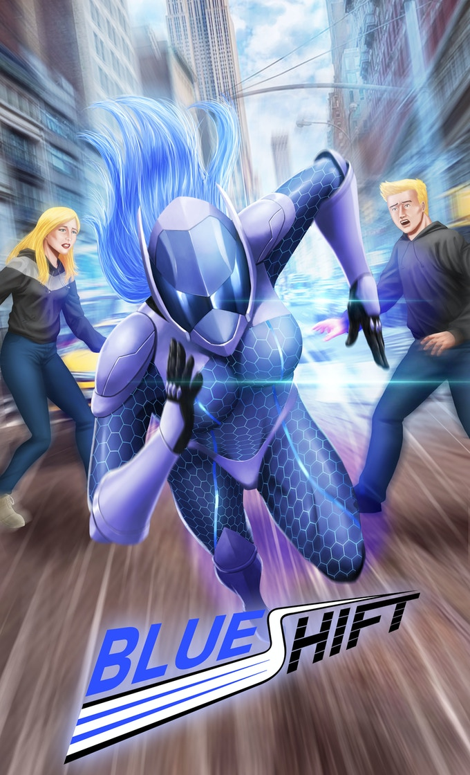 Speeding onto your bookshelf: Blue-Shift's cover! Join us for a super-speed adventure unlike any other!
