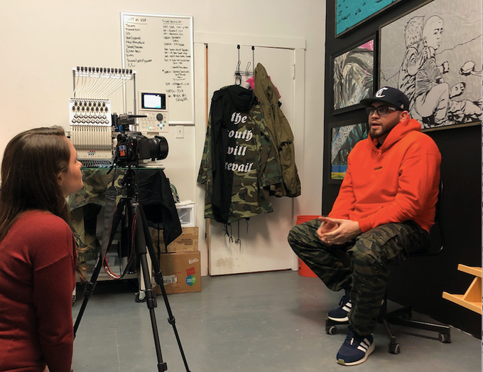 Reporter Kelly Bauer interviews Humboldt Park artist Antonio Beniquez.