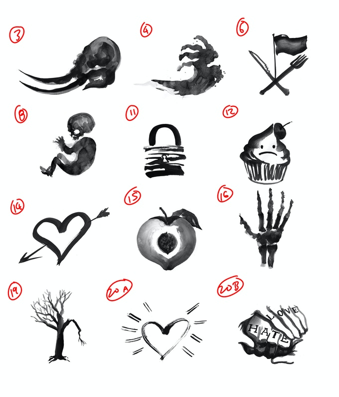 Draft of curse glyphs, by Matt Huynh