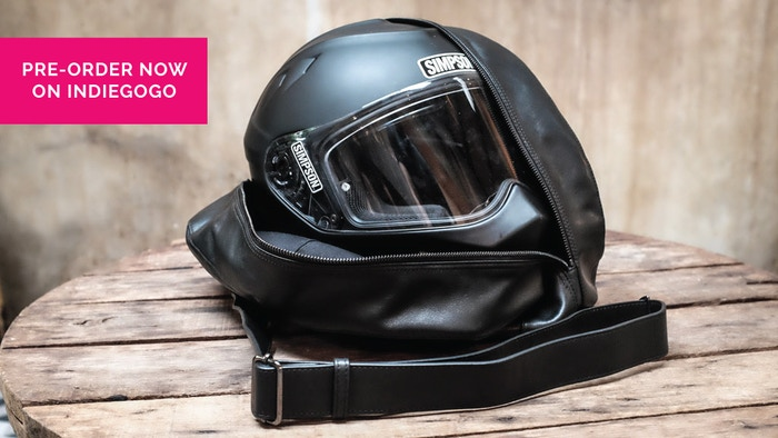 Minimal Design, Maximum Functionality. Italian Full Grain Leather and Japanese YKK Zippers. A better way to bring along your helmet!