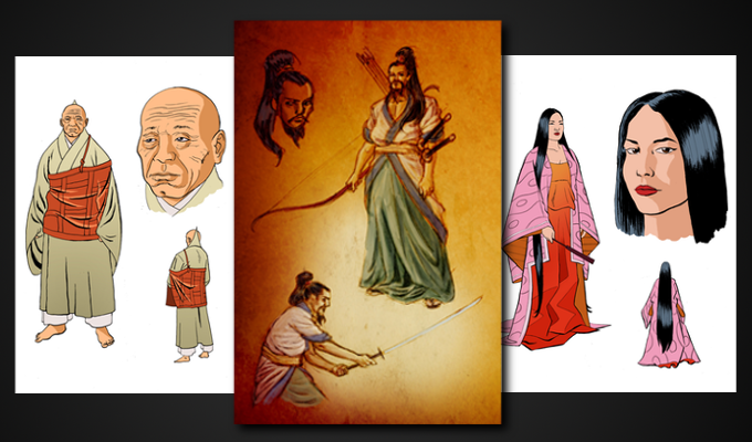 Retired Emperor Go-Shirakawa, famed archer and poet Minamoto no Yorimasa, and Empress Dowager Kenreimon'in
