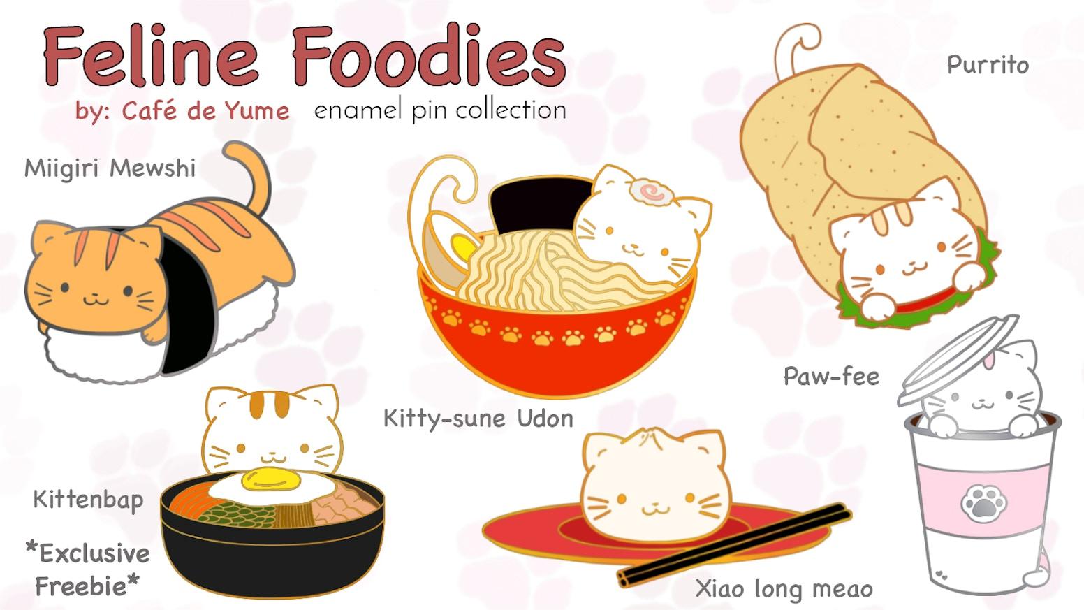Feline Foodies Enamel Pins by Celia Tang » Pin Hunters - Pin Display