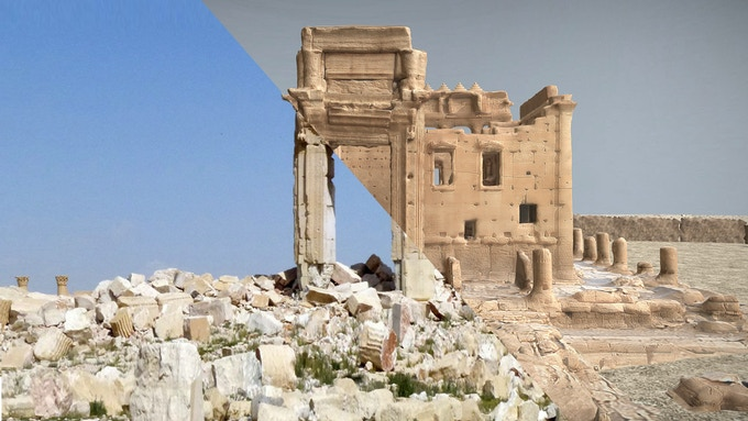 The rubble at the Temple of Bel / our 3d model of the Temple of Bel