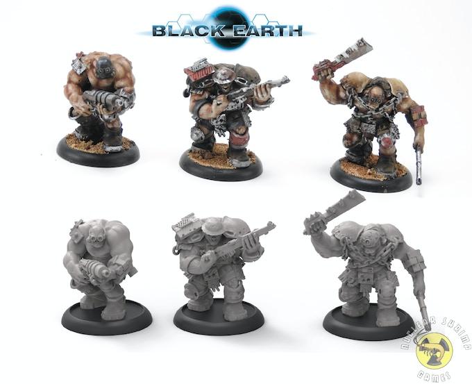 Brute raiders. Top - painted resin models. Bottom - 3d renders