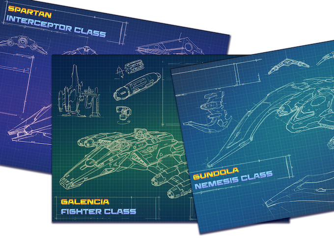 Blueprints of the player ships