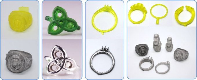 Rings printed by WD resin and casted rings