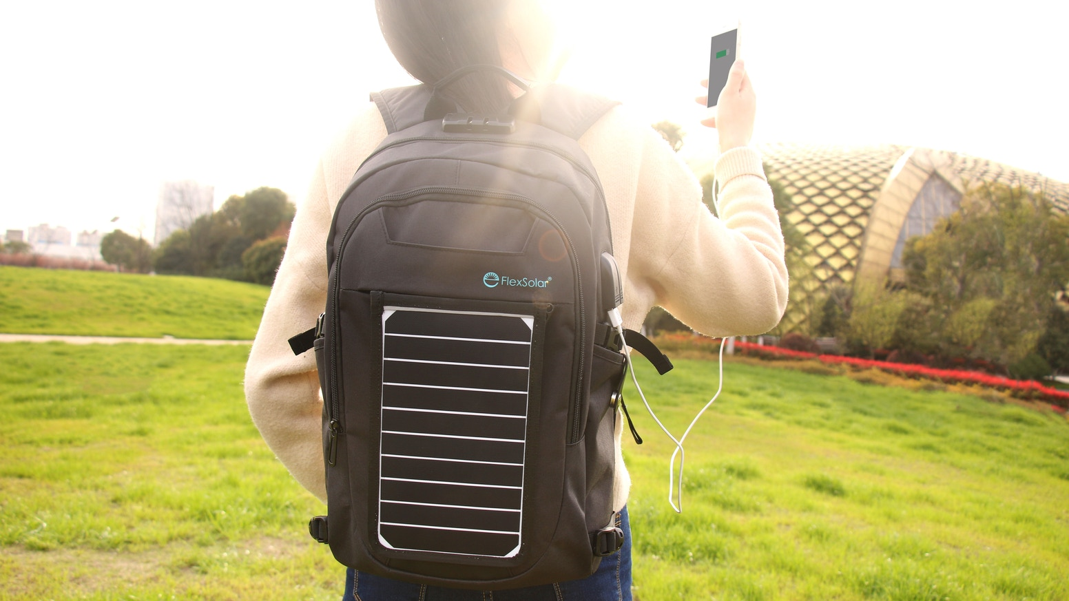 Solar backpack / Removable solar panel/Charge on the go /USB solar charger/ Go green/Camping/Hiking/Outdoor